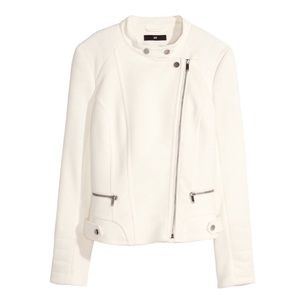 H&M White Biker Jacket